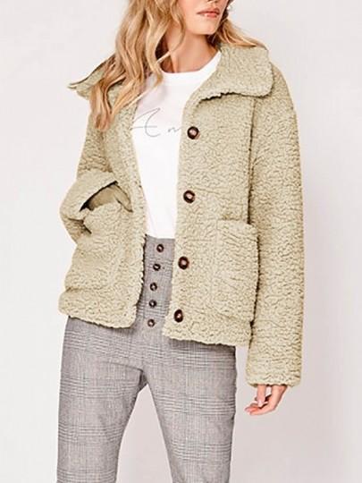 Khaki Günstig Cichic Langarm Warmer Umlegekragen Buttons Teddy Taschen 21 Jacke Mode From Mantel Damen Oversize Knöpfen On Winter m0vwnyN8O