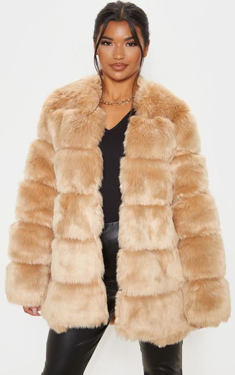 Stone Faux Fur Bubble Coat