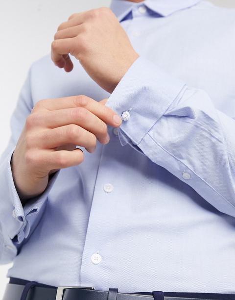 Asos Design Formal Skinny Fit Oxford Shirt In Blue
