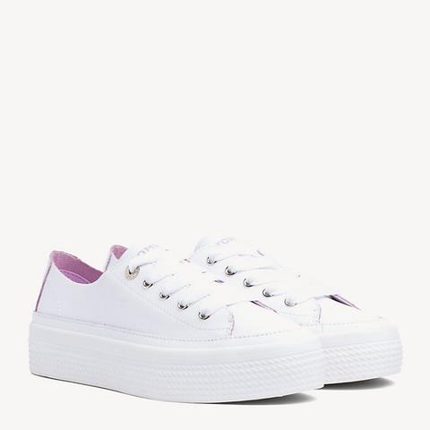 Scarpe Sneakers Tommy Jeans con suola alta in pelle donna