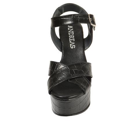 Sandalia Con Grabado Cocodrilo Negro