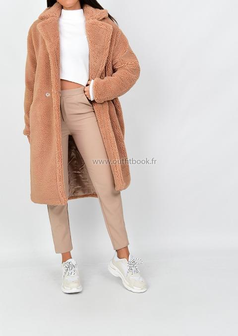 Manteau Long Camel Effet Peau De Mouton from Outfitbook on 21 Buttons