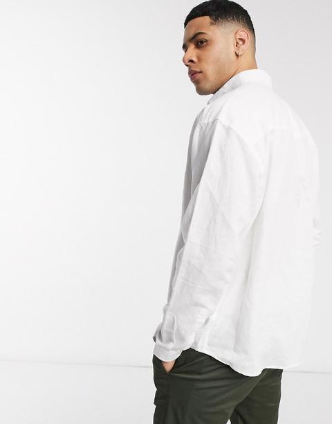 Asos Design Oversized Fit Linen Shirt In White