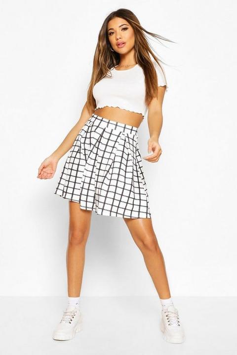 Womens Sketchy Grid Check Box Pleat Skater Skirt - White - 8, White