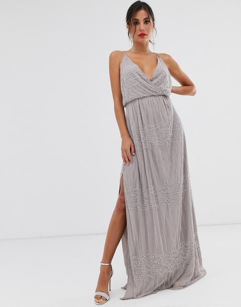 Vestido Largo Con Corpiño Cruzado Y Adornos Florales De Asos Design-gris de ASOS en 21 Buttons