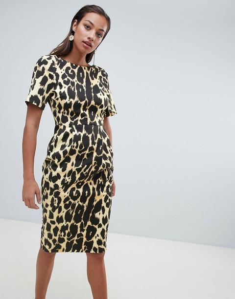 nuevo estilo en venta en línea el mejor Vestido Midi Con Corte De Efecto Movimiento Y Estampado De Leopardo De Asos  Design de ASOS en 21 Buttons