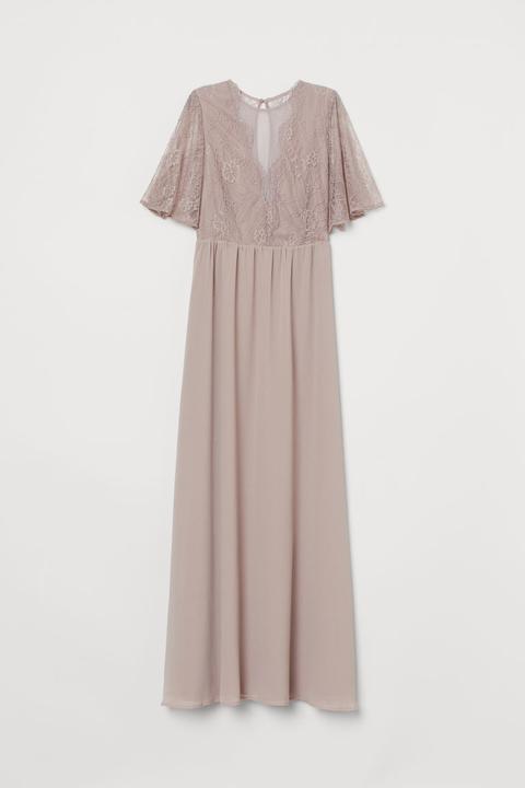Vestido Largo Con Encaje - Marrón de H&M en 21 Buttons