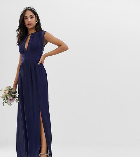 Vestido Largo Azul Marino De Dama De Honor Con Detalle De Encaje De Tfnc