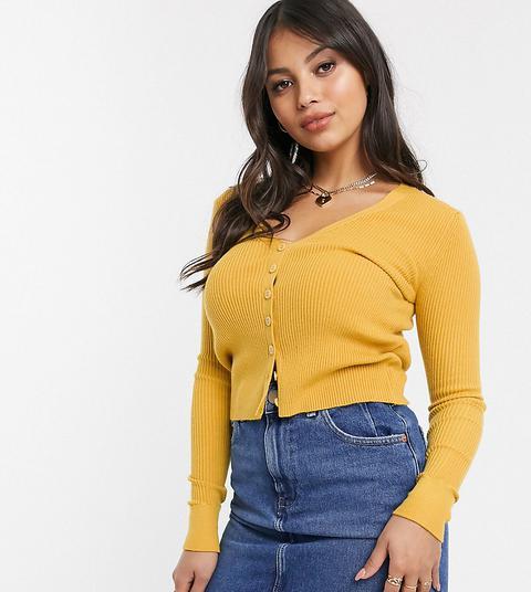 Glamorous Petite Button Through Top In Deep Rib Knit-yellow
