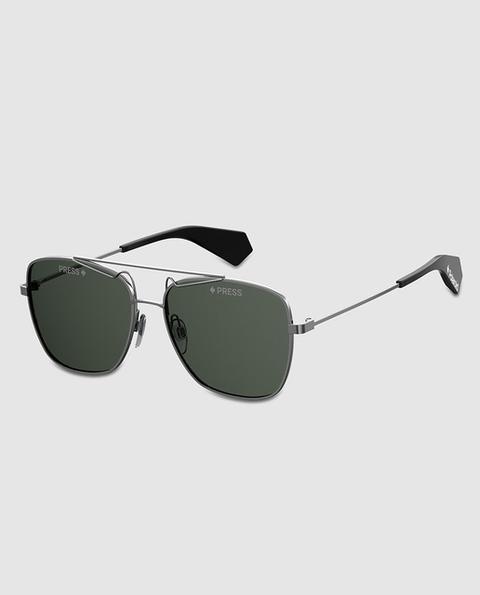 Polaroid - Gafas De Sol Unisex Cuadradas En Metal Gris de El Corte Ingles en 21 Buttons