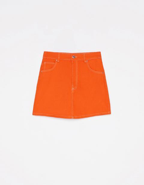 Falda Mini Con Costuras Contraste