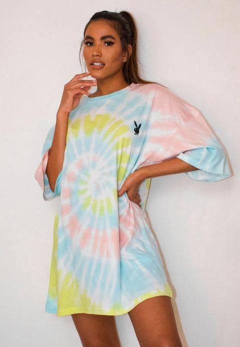 Playboy X Missguided Pastel Tie Dye Oversized T Shirt Dress, Multi