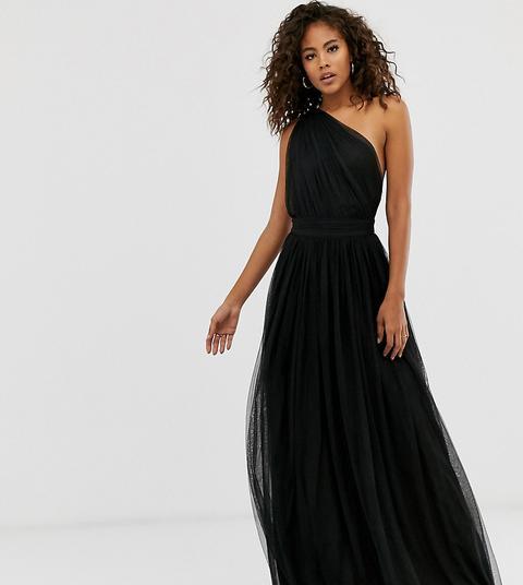 Vestido Largo Asimétrico De Tul De Asos Design Tall-negro de ASOS en 21 Buttons