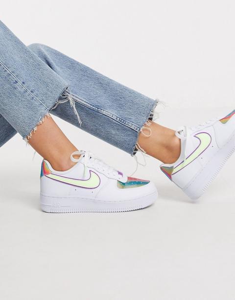 Nike - Air Force 1 '07 - Baskets - Blanc, Vert Et Violet-multi