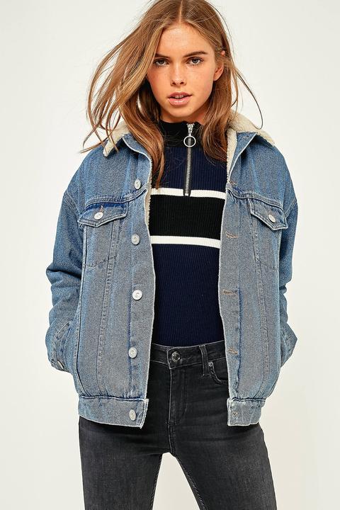 Bdg Western Borg-lined Light Blue Denim Jacket - Womens L
