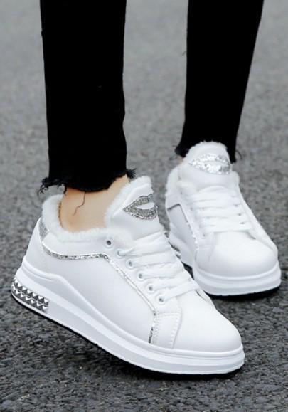 Zapatos Punta Redonda Con Cordones De Lentejuelas Con Cordones Tobillo De Moda Blanco de Cichic en 21 Buttons
