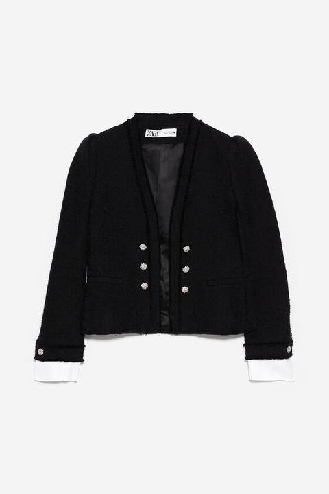 Chaqueta Tweed Popelín de Zara en 21 Buttons