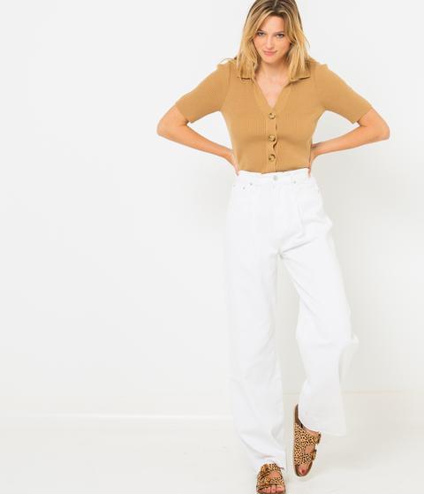 Jean Femme Blanc Coupe Large Coton Bio