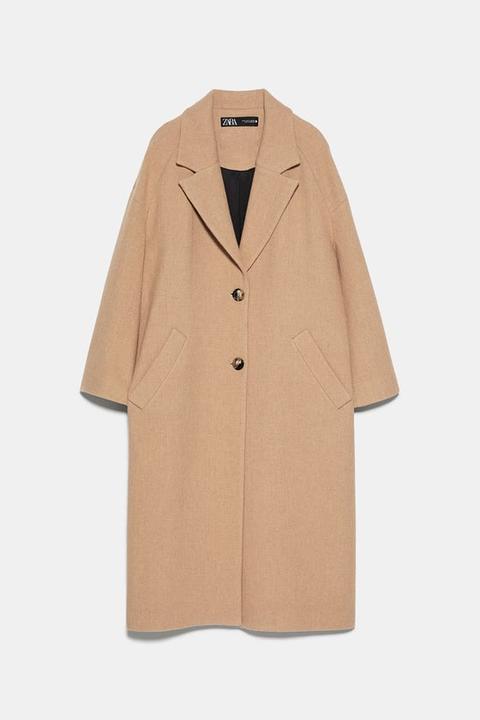 Abrigo Largo Botones de Zara en 21 Buttons