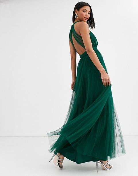 Vestido Largo De Tul Con Parte Delantera Cruzada Y Cuello Halter De Asos Design-multicolor de ASOS en 21 Buttons