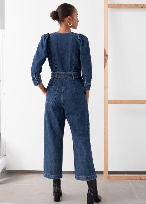 Belted Denim Jumpsuit