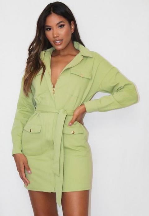 Sage Belted Utility Shirt Dress, Green