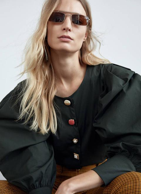 Camisa Popelín Verde de Uterqüe en 21 Buttons