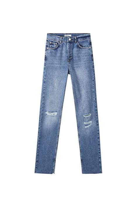 Jeans Tiro Alto Azules Aberturas