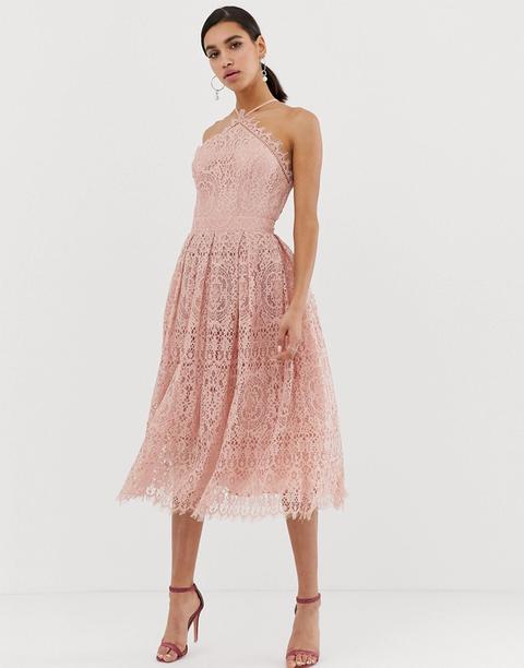 online retailer cc2de 35da8 Chi Chi London - Vestito Midi Accollato In Pizzo Rosa Cipria ...