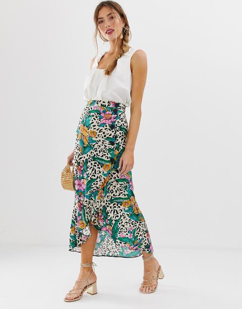 Wrap Skirt in Tropical Print MONNIE SKIRT