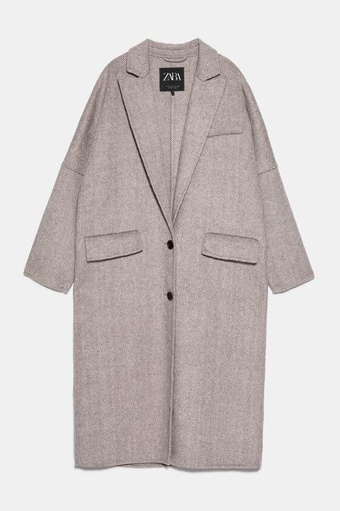 Abrigo Oversize Con Lana Y Mohair de Zara en 21 Buttons