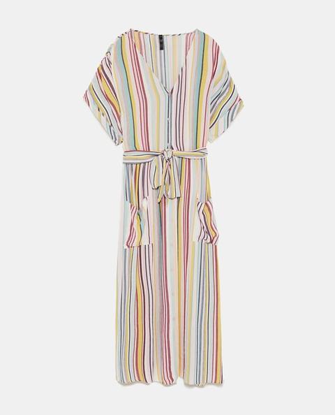 Vestido Rayas Lino Última Semana mujer   Zara España from Zara on 21 Buttons