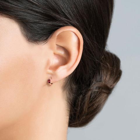 Pendientes Aro Mini Granate Plata Recubierta Oro Rosa