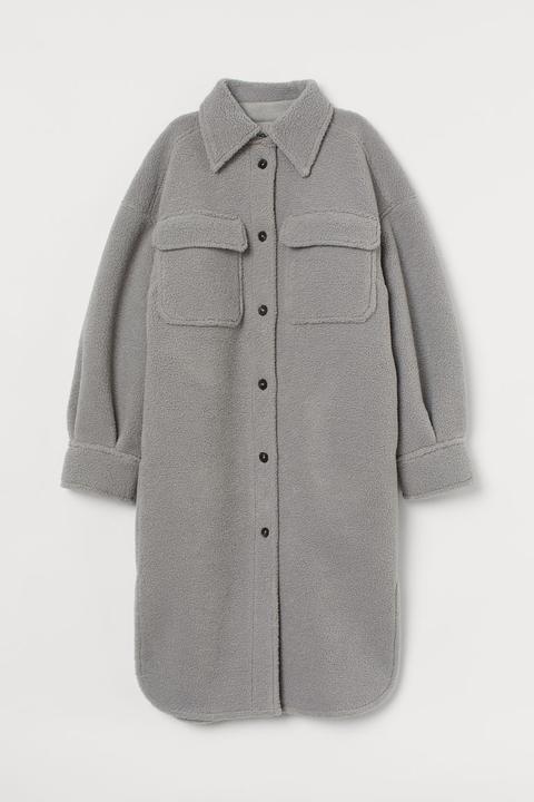 Faux Shearling Shirt Jacket - Gris