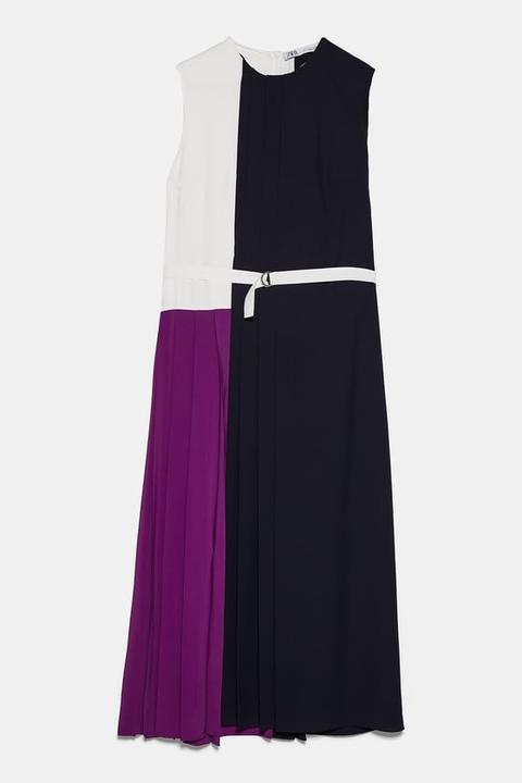 Vestido Plisado Patchwork de Zara en 21 Buttons