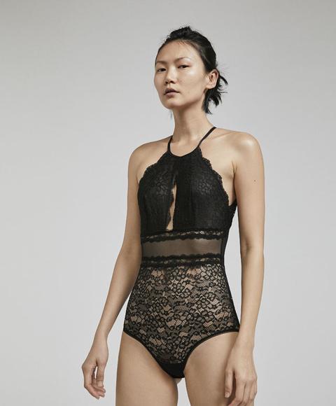 Body Halter Encaje Color: Negro Talla: M Material: Poliamida,elastano,algodón,poliamida,elastano,