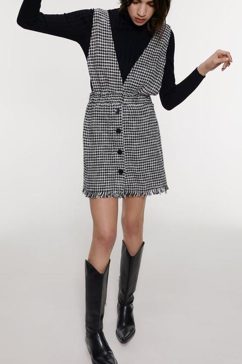 Robe Salopette En Tweed A Bretelles From Zara On 21 Buttons