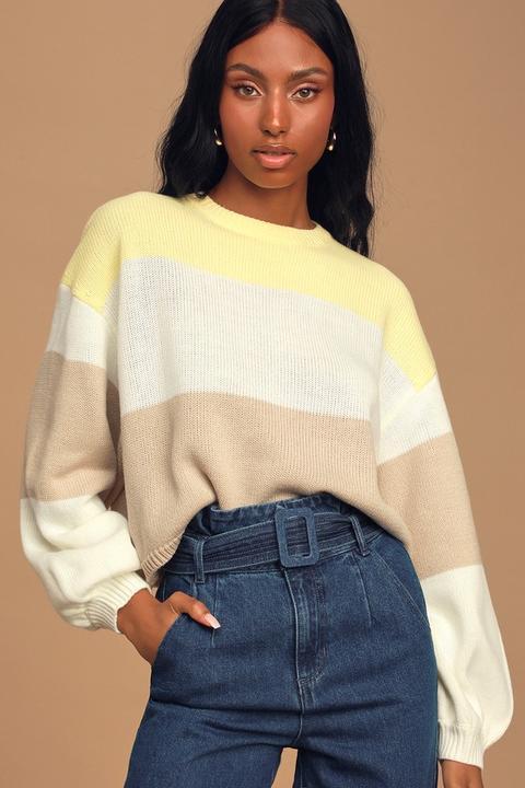 Can't Hide Yellow Multi Knit Color Block Sweater - Lulus de Lulus en 21 Buttons