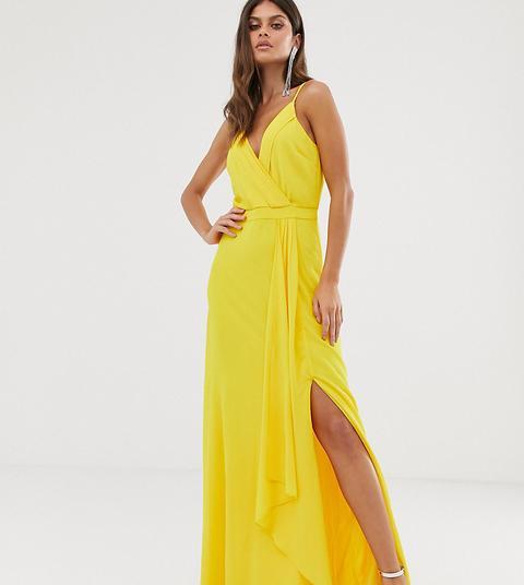 Vestido Largo Estilo Camisola Con Diseño Cruzado Y Cola De Pez En Amarillo De Tfnc de ASOS en 21 Buttons