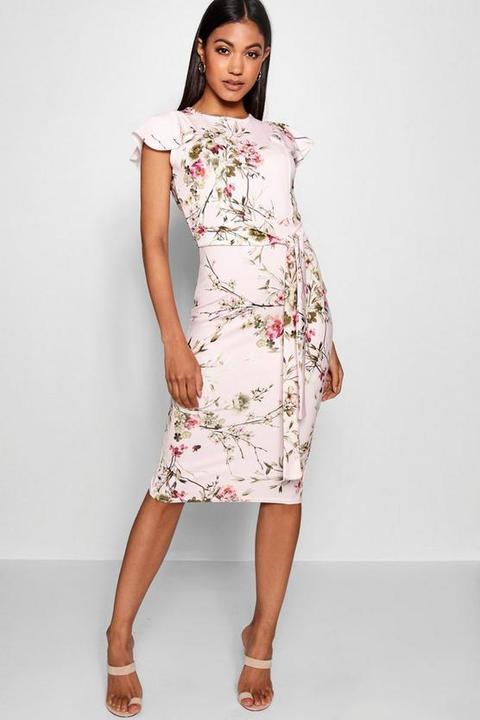 Womens Floral Tie Waist Ruffle Detail Midi Dress - Pink - 12, Pink