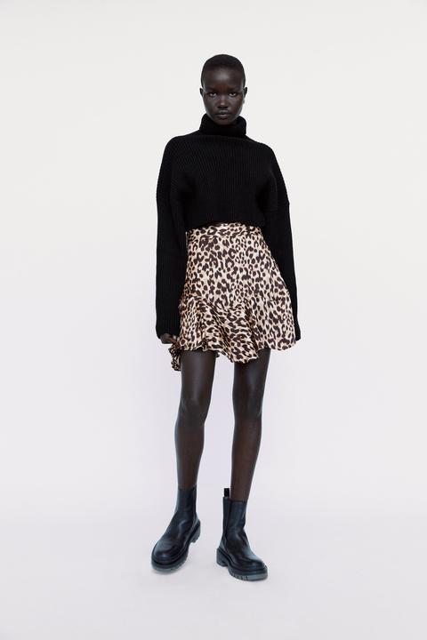 Satin Animal Print Skirt