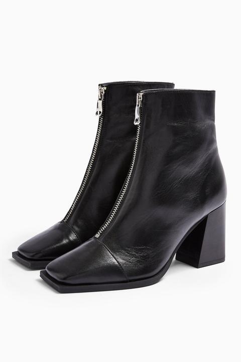 Womens Heidi Leather Black Zip Boots - Black, Black
