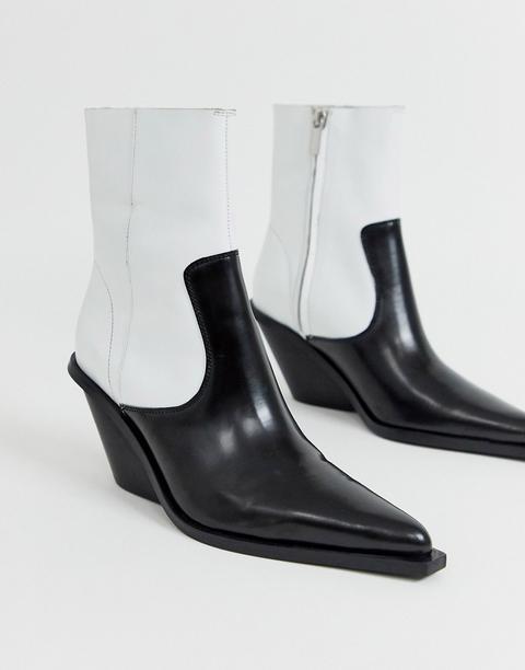 Botas Western De Cuero Premium Con Diseño Monocromático Rory De Asos Design-negro