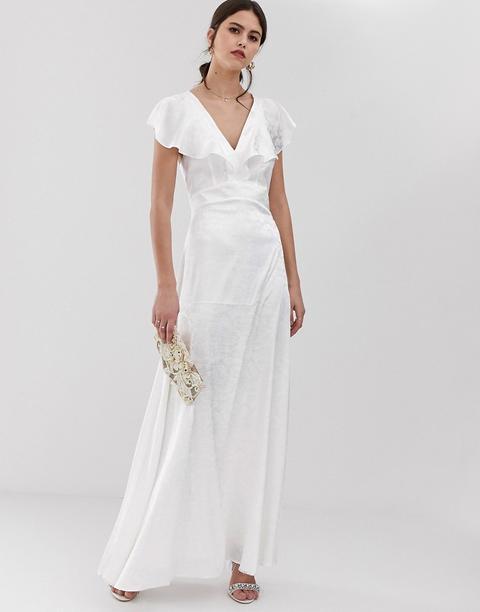Vestido Largo Blanco De Jacquard Con Volantes En Las Mangas De Y.a.s de ASOS en 21 Buttons