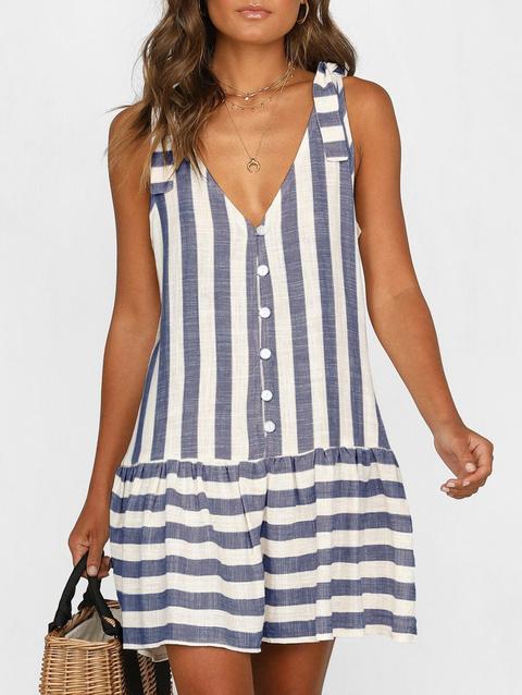 Plunge Striped Casual Tank Dress