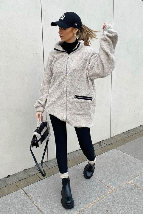 Beige Borg Zip Front Pocket High Neck Sweater Dress