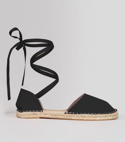 Black Ankle Tie Espadrille Sandals
