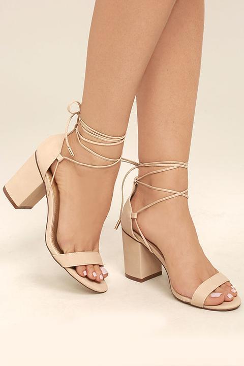 Kaira Beige Lace-up Heels - Lulus from
