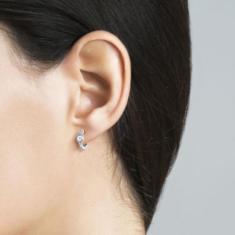 Silver Hoop Earrings With Mini White Topaz