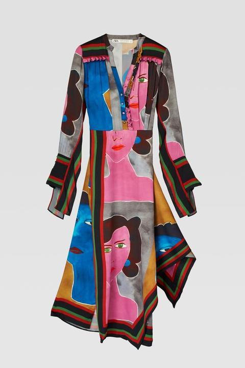 Vestido Estampado Caras de Zara en 21 Buttons